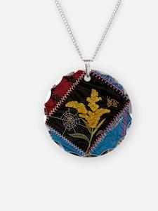 crazy quilt square Necklace