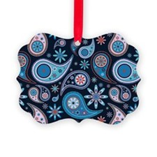 navy paisley Picture Ornament
