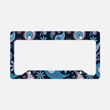 navy paisley License Plate Holder