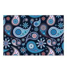 navy paisley Postcards (Package of 8)