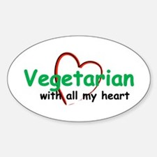 Vegetarian with all my Heart Oval Decal