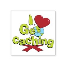 "geocaching BUTTON Square Sticker 3"" x 3"""