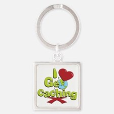 geocaching BUTTON Square Keychain