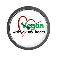 Vegan with all my Heart Wall Clock