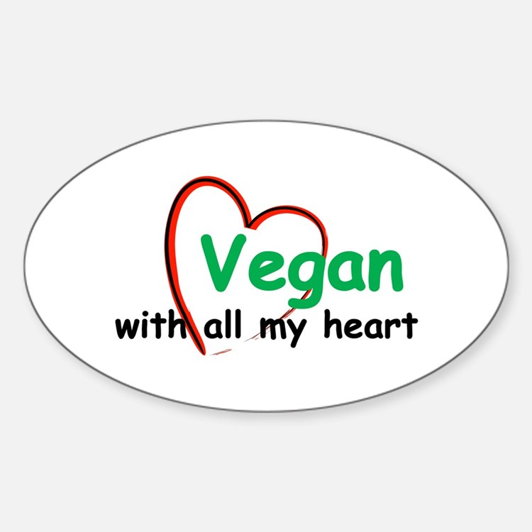 Vegan with all my Heart Oval Decal