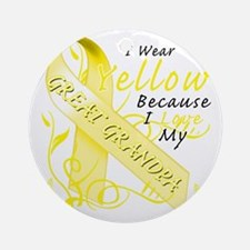 I Wear Yellow Because I Love My Gre Round Ornament