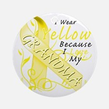 I Wear Yellow Because I Love My Gra Round Ornament