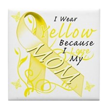 I Wear Yellow Because I Love My Mom Tile Coaster