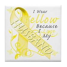 I Wear Yellow Because I Love My Husba Tile Coaster