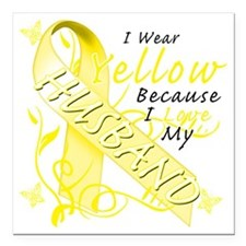 """I Wear Yellow Because I  Square Car Magnet 3"""" x 3"""""""