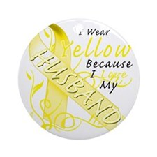 I Wear Yellow Because I Love My Hus Round Ornament