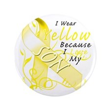 """I Wear Yellow Because I Love My Son 3.5"""" Button"""