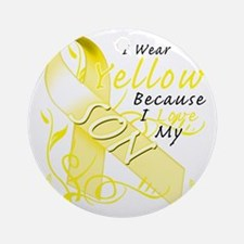 I Wear Yellow Because I Love My Son Round Ornament