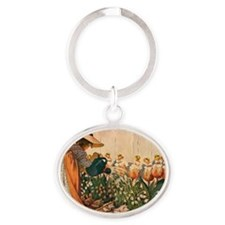 Mary, Mary Quite Contrary Print Oval Keychain