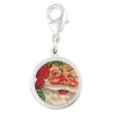 Santa Claus Silver Round Charm