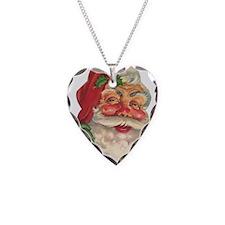 Santa Claus Necklace Heart Charm
