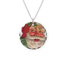 Santa Claus Necklace Circle Charm