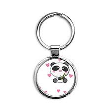 panda-cub3 Round Keychain