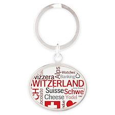 Switzerland2tilt Oval Keychain