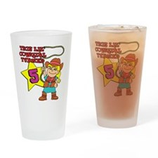 This Little Cowgirl Turned 5 Drinking Glass