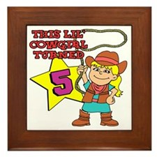 This Little Cowgirl Turned 5 Framed Tile