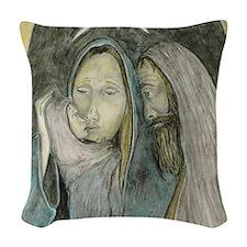 Holy Family Nativity Christmas Woven Throw Pillow