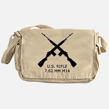 U.S.Rifle, Crossed, White OL Messenger Bag