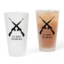 U.S.Rifle, Crossed, White OL Drinking Glass