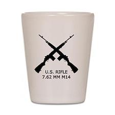 U.S.Rifle, Crossed, White OL Shot Glass