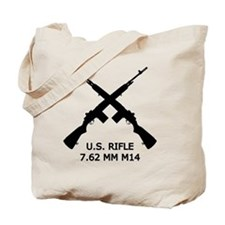 U.S.Rifle, Crossed, White OL Tote Bag