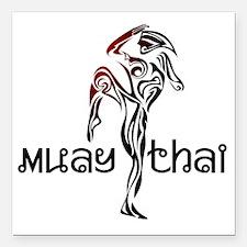 """Muay Thai Square Car Magnet 3"""" x 3"""""""