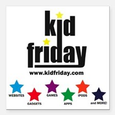 "kid friday logo Square Car Magnet 3"" x 3"""