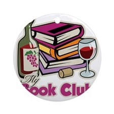 Wine-My-Book-Club Round Ornament