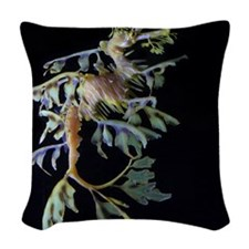 Leaf-see the shrimp Woven Throw Pillow