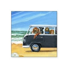 """Bus Full of Dogs on the Bea Square Sticker 3"""" x 3"""""""