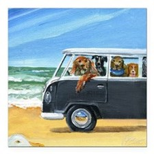 "Bus Full of Dogs on the  Square Car Magnet 3"" x 3"""