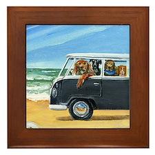 Bus Full of Dogs on the Beach Framed Tile