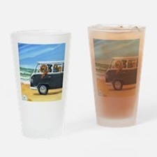 Bus Full of Dogs on the Beach Drinking Glass