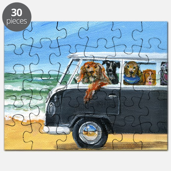 Bus Full of Dogs on the Beach Puzzle