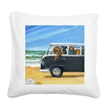 Bus Full of Dogs on the Beach Square Canvas Pillow