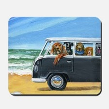 Bus Full of Dogs on the Beach Mousepad