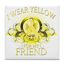 I Wear Yellow for my Friend (floral) Tile Coaster