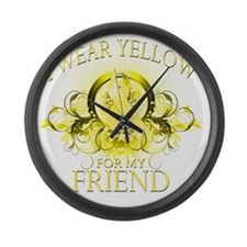 I Wear Yellow for my Friend (flor Large Wall Clock