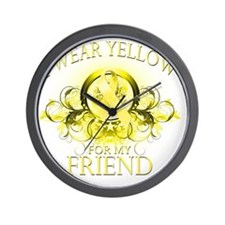 I Wear Yellow for my Friend (floral) Wall Clock