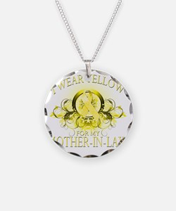 I Wear Yellow for my Mother  Necklace Circle Charm