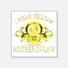"""I Wear Yellow for my Mother Square Sticker 3"""" x 3"""""""