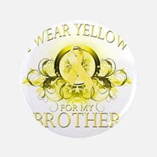 "I Wear Yellow for my Brother (floral) 3.5"" Button"