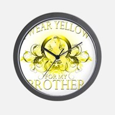 I Wear Yellow for my Brother (floral) Wall Clock