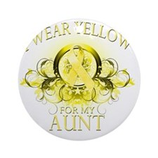 I Wear Yellow for my Aunt (floral) Round Ornament