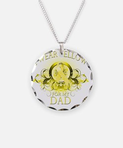 I Wear Yellow for my Dad (fl Necklace Circle Charm